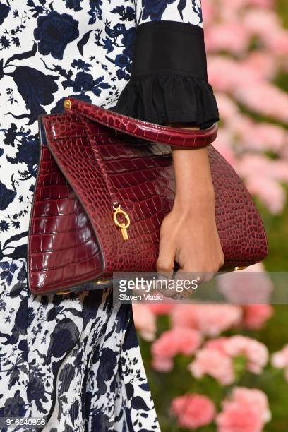 A model bag detail walks the runway during the Tory Burch Fall Winter 2018 Fashion Show during New York Fashion Week at Bridge Market on February 9...