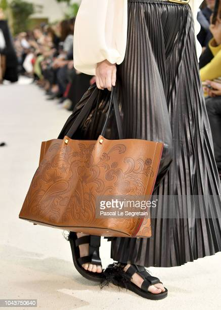 A model bag detail walks the runway during the Valentino show as part of the Paris Fashion Week Womenswear Spring/Summer 2019 on September 30 2018 in...