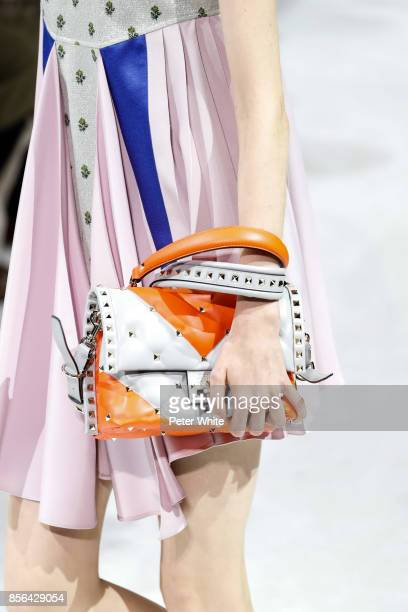 Model, bag detail, walks the runway during the Valentino show as part of the Paris Fashion Week Womenswear Spring/Summer 2018 on October 1, 2017 in...