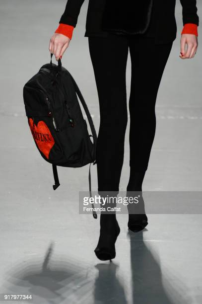 A model bag detail walks the runway for Zang Toi during New York Fashion Week The Shows at Pier 59 on February 13 2018 in New York City