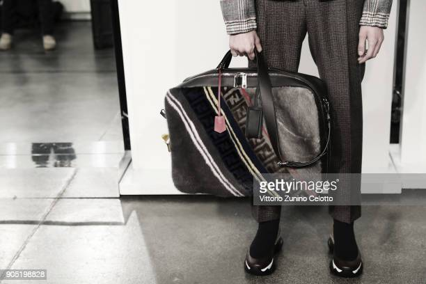 A model bag details is seen backstage ahead of the Fendi show during Milan Men's Fashion Week Fall/Winter 2018/19 on January 15 2018 in Milan Italy