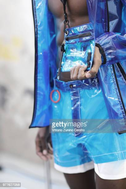 A model bag details is seen backstage ahead of the N21 show during Milan Men's Fashion Week Spring/Summer 2019 on June 18 2018 in Milan Italy
