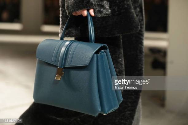 A model bag details walks the runway at the Agnona show at Milan Fashion Week Autumn/Winter 2019/20 on February 23 2019 in Milan Italy