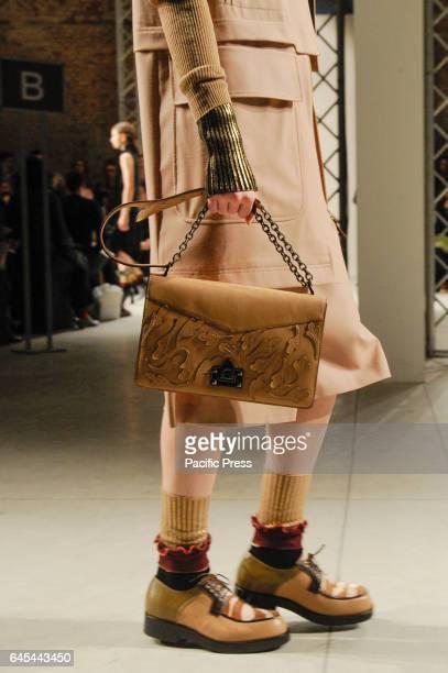 A model bag details walks the runway at the Cividini show during Milan Fashion Week Fall/Winter 2017/18