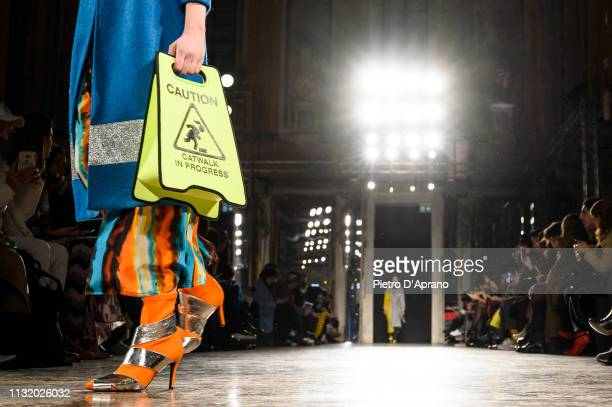 A model bag detal walks the runway at the Ultrachic show at Milan Fashion Week Autumn/Winter 2019/20 on February 25 2019 in Milan Italy