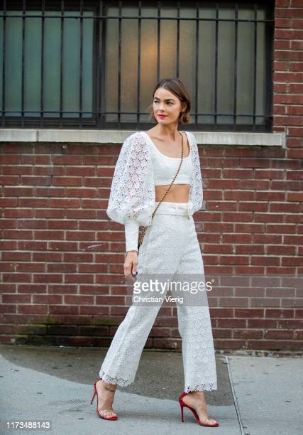Model Bambi Northwood Blyth is seen wearing white sheer top and and pants during New York Fashion Week September 2019 on September 09, 2019 in New...