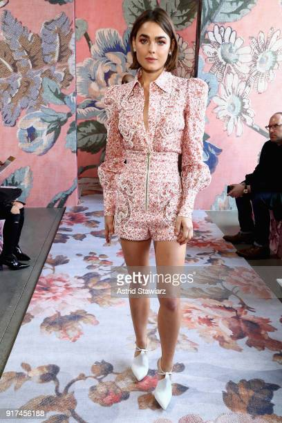 Model Bambi NorthwoodBlyth attends the Zimmermann fashion show during New York Fashion Week The Shows at Gallery I at Spring Studios on February 12...