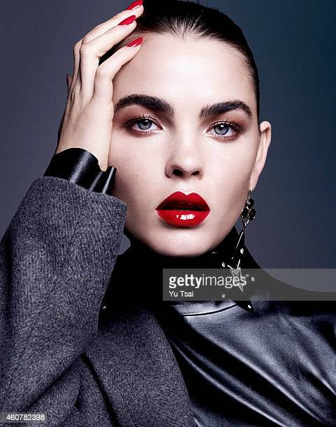Model Bambi NorthwoodBlyth is photographed for a beauty editorial for for Contributor Magazine on November 26 2014 in Los Angeles California...