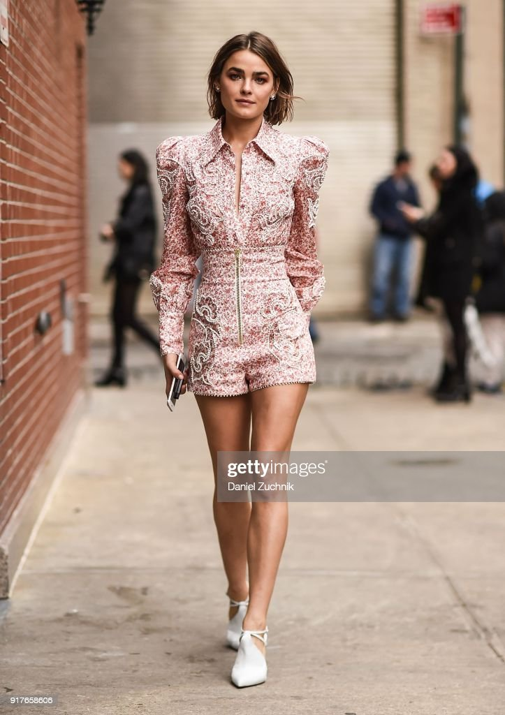 Model Bambi Northwood-Blyth is seen outside the Zimmermann show during New York Fashion Week: Women's A/W 2018 on February 12, 2018 in New York City.