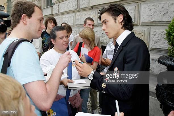 BERLIN JULY 19 Model Baptiste Giabiconi leaves the Hotel de Rome on July 23 2009 in Berlin Germany
