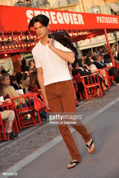 Model Baptiste Giabiconi walks the runway during the Chanel Cruise Collection Presentation on May 11 2010 in SaintTropez France