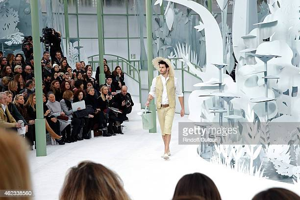 Model Baptiste Giabiconi walks the runway during the Chanel show as part of Paris Fashion Week Haute Couture Spring/Summer 2015 on January 27 2015 in...