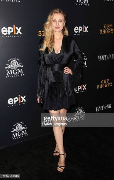 Model Bar Paly attends the red carpet premiere of EPIX original series 'Get Shorty' at Pacfic Design Center on August 10 2017 in West Hollywood...