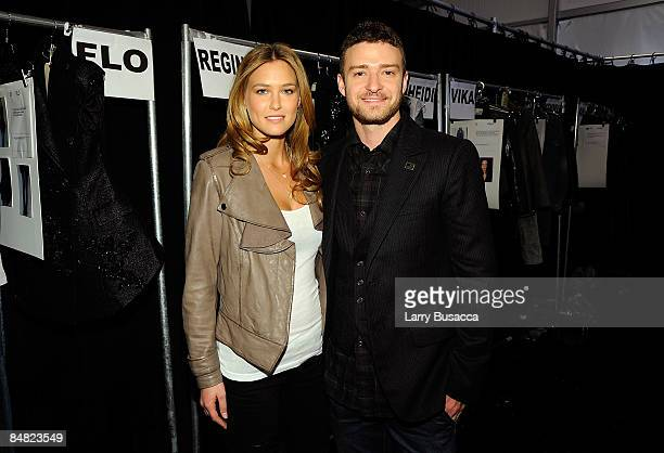 Model Bar Refaeli and Justin Timberlake pose backstage at the William Rast Fall 2009 fashion show during MercedesBenz Fashion Week in the Tent at...