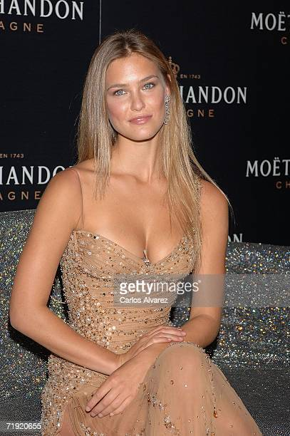 Model Bar Refaeli launches new Mot Chandon 'Star of the night' bottle on September 18 2006 at Retiro Park in Madrid Spain