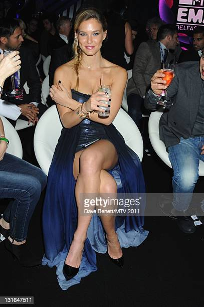 Model Bar Refaeli poses in the VIP Glamour area during the MTV Europe Music Awards 2011 at Odyssey Arena on November 6 2011 in Belfast Northern...