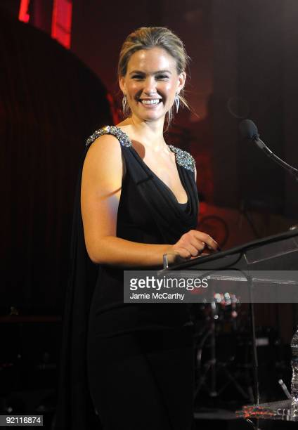 Model Bar Refaeli speaks onstage at the 2009 Angel Ball to Benefit Gabrielle�s Angel Foundation hosted by Denise Rich at Cipriani Wall Street on...