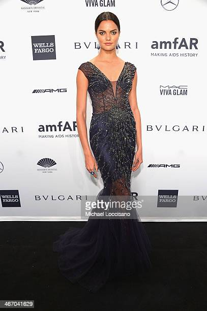 Model Barbara Fialho attends the 2014 amfAR New York Gala at Cipriani Wall Street on February 5 2014 in New York City