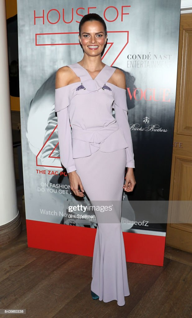 Model Barbara Fialho attends the premiere of 'House of Z' hosted by Brooks Brothers with The Cinema Society at Crosby Street Hotel on September 7, 2017 in New York City.