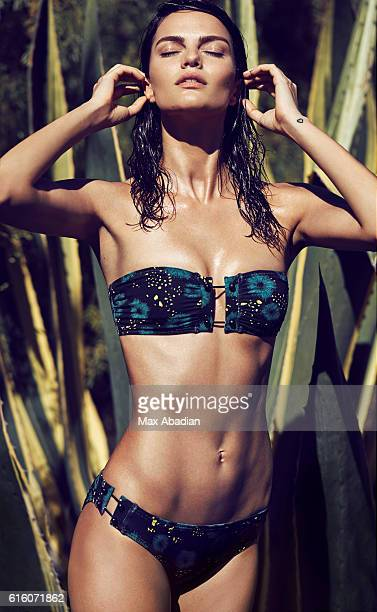 Model Barbara Fialho is photographed for a jungle swimwear story for Cosmopolitan Magazine on March 2 2016 in Miami Florida Published Image