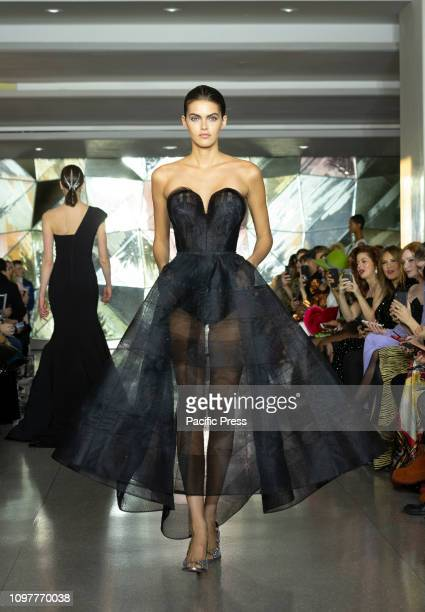 Model Barbara Fialho walks runway for Christian Siriano New York fashion week Fall/Winter 2019 collection at Top of the Rock Rockefeller Center.