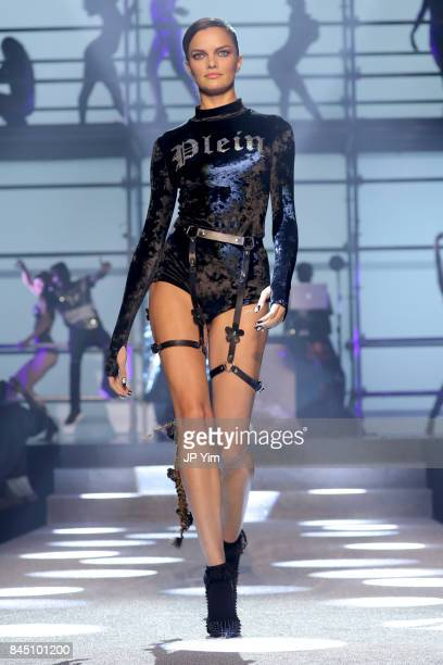Model Barbara Fialho walks the runway at the Philipp Plein fashion show during New York Fashion Week The Shows at Hammerstein Ballroom on September 9...