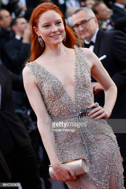 Model Barbara Meier attends the 'Ismael's Ghosts ' screening and Opening Gala during the 70th annual Cannes Film Festival at Palais des Festivals on...