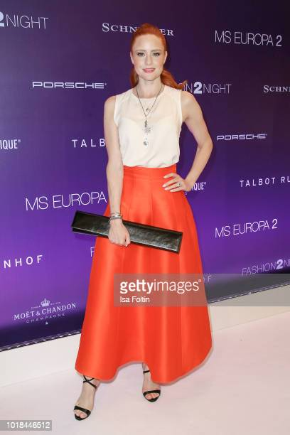 Model Barbara Meier during the FASHION2NIGHT event on board the EUROPA 2 on August 17, 2018 in Hamburg, Germany.