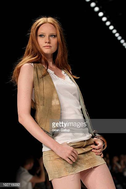 Model Barbara Meier walks the runway at the Mavi Show during the Mercedes Benz Fashion Week Spring/Summer 2011 at Bebelplatz on July 8 2010 in Berlin...