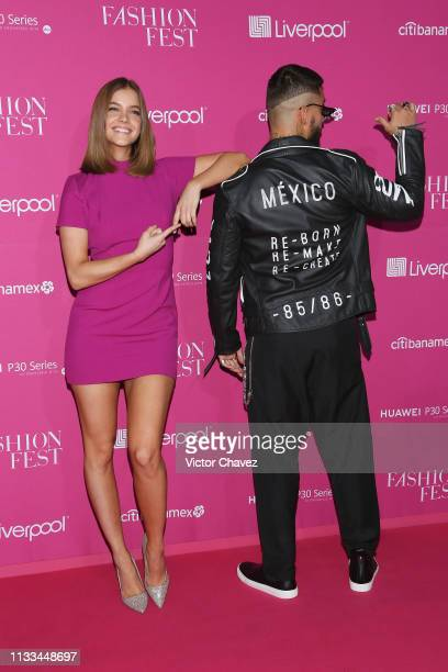 Model Barbara Palvin and Maluma attend the Liverpool Fashion Fest Spring/ Summer 2019 at Quarry Studios on March 28 2019 in Mexico City Mexico