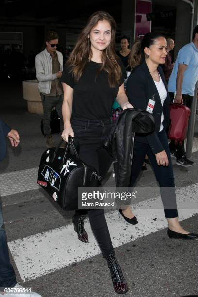 Model Barbara Palvin arrives at Nice airport during the 70th annual Cannes Film Festival at on May 22 2017 in Cannes France