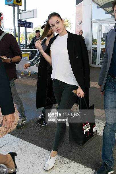 Model Barbara Palvin arrives at Nice airport during the annual 69th Cannes Film Festival at Nice Airport on May 16 2016 in Nice France