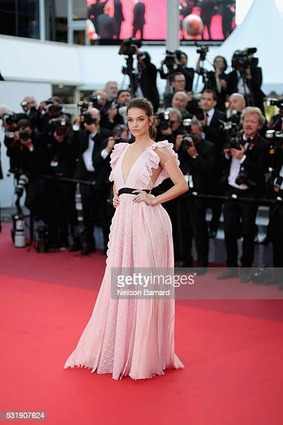 Model Barbara Palvin attends the Julieta premiere during the 69th annual Cannes Film Festival at the Palais des Festivals on May 17 2016 in Cannes...