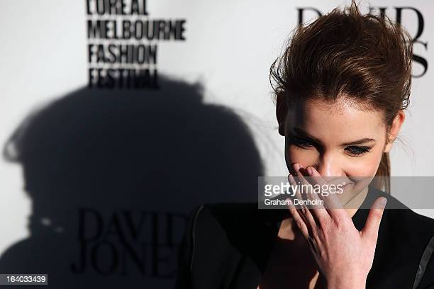Model Barbara Palvin poses as she arrives for the L'Oreal Melbourne Fashion Festival Opening Event presented by David Jones at Docklands on March 19,...