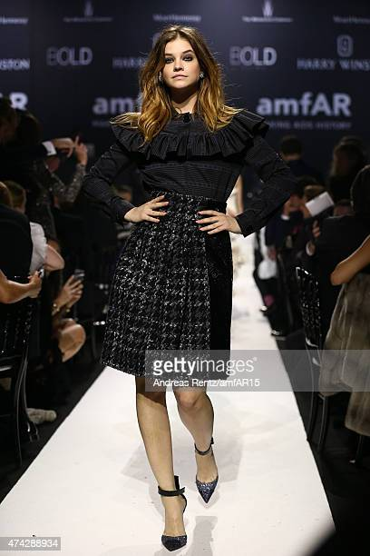 Model Barbara Palvin walks during the fashion show runway during amfAR's 22nd Cinema Against AIDS Gala Presented By Bold Films And Harry Winston at...