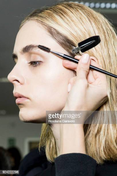 Model Beatrice Cabrini is seen backstage ahead of the MSGM show during Milan Fashion Week Fall/Winter 2018/19 on February 25 2018 in Milan Italy