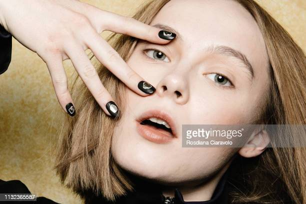 A model beauty and nails detail is seen backstage ahead of the Ujoh show at Milan Fashion Week Autumn/Winter 2019/20 on February 24 2019 in Milan...