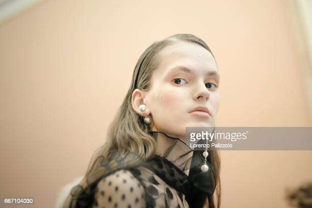 A model beauty backstage detail is seen backstage ahead of the Blugirl show during Milan Fashion Week Fall/Winter 2017/18 on February 24 2017 in...