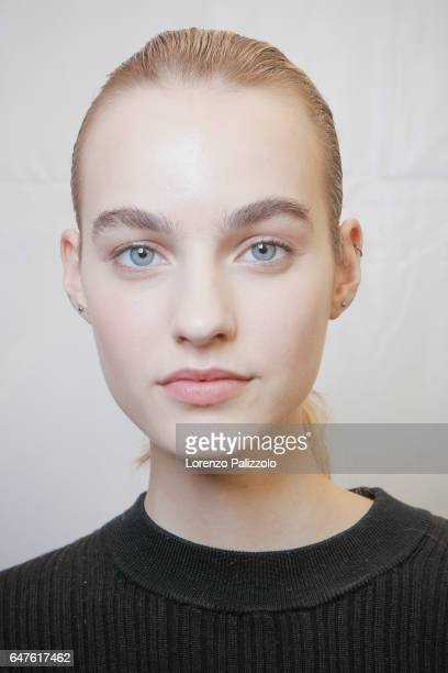 A model beauty backstage detail is seen backstage before the Isabel Marant show as part of the Paris Fashion Week Womenswear Fall/Winter 2017/2018 on...