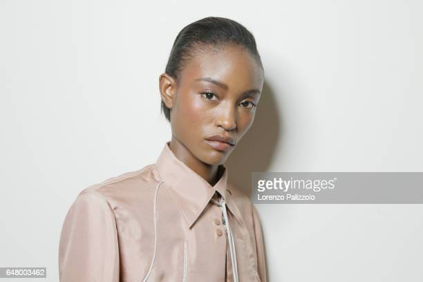 A model beauty backstage detail is seen backstage before the Nina Ricci show as part of the Paris Fashion Week Womenswear Fall/Winter 2017/2018 on...