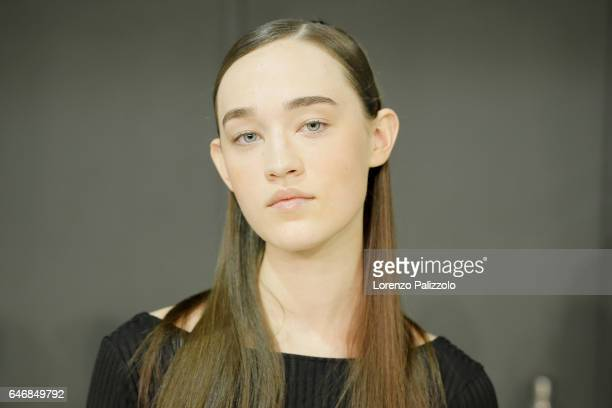 A model beauty backstage detail prepares backstage before the Guy Laroche show as part of the Paris Fashion Week Womenswear Fall/Winter 2017/2018 on...