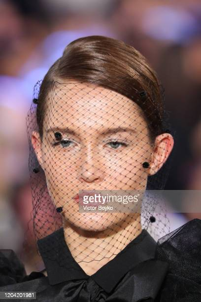 Model, beauty close-up shot, walks the runway during the Elie Saab show as part of the Paris Fashion Week Womenswear Fall/Winter 2020/2021 on...