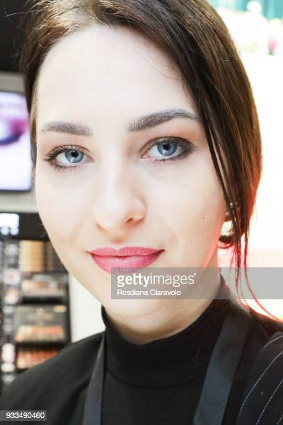 A model beauty detail is seen at Cosmoprof at BolognaFiere Exhibition Centre on March 17 2018 in Bologna Italy