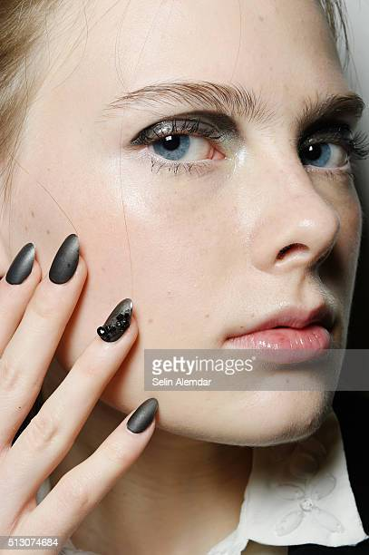 A model beauty detail is seen backstage ahead of the Angelo Marani show during Milan Fashion Week Fall/Winter 2016/17 on February 29 2016 in Milan...