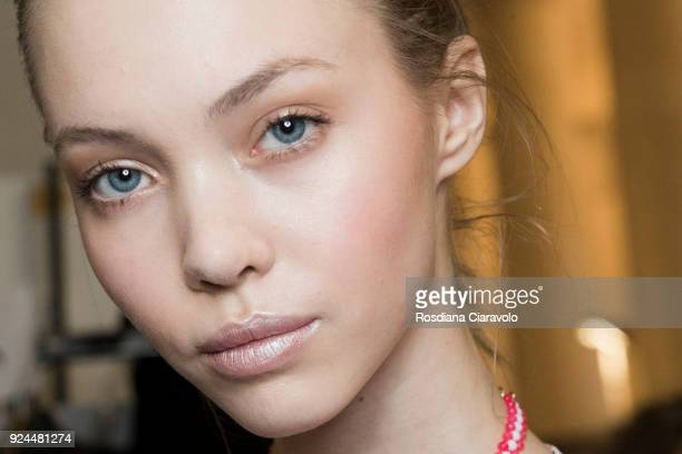 A model beauty detail is seen backstage ahead of the Stella Jean show during Milan Fashion Week Fall/Winter 2018/19 on February 25 2018 in Milan Italy