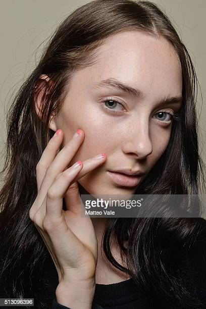 Model, beauty detail, is seen backstage ahead of the Vivetta show during Milan Fashion Week Fall/Winter 2016/17 on February 29, 2016 in Milan, Italy.
