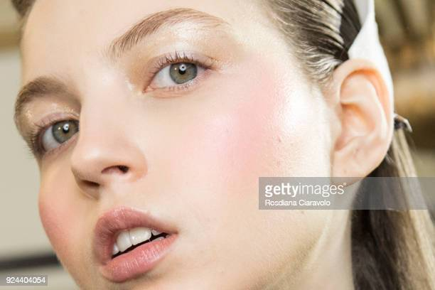 A model beauty detail is seen backstage ahead of the Vivetta show during Milan Fashion Week Fall/Winter 2018/19 on February 22 2018 in Milan Italy