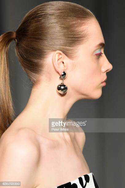 Model Beauty detail walk the runway at the Oscar de La Renta fashion show during February 2017 New York Fashion Week The Shows at Gallery 1 Skylight...