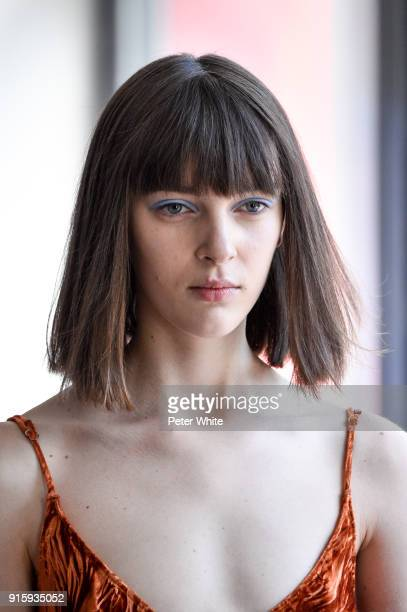 A model beauty detail walks the runway at the Collina Strada AW18 Show during New York Fashion Week on February 8 2018 in New York City