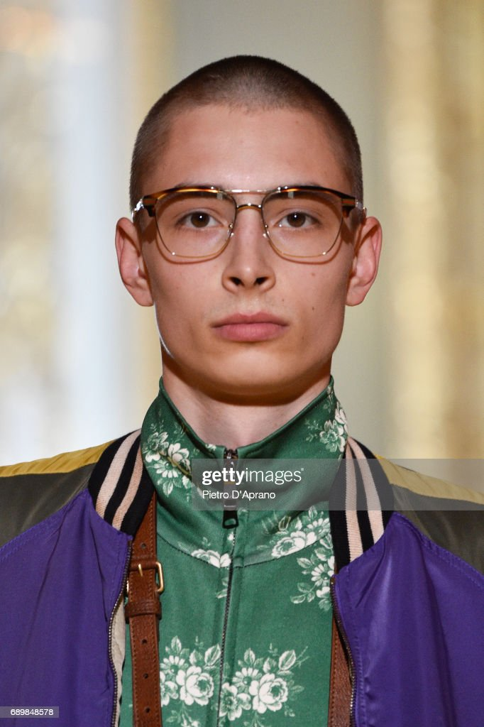 A model, beauty detail, walks the runway at the Gucci Cruise 2018 show at Palazzo Pitti on May 29, 2017 in Florence, Italy.